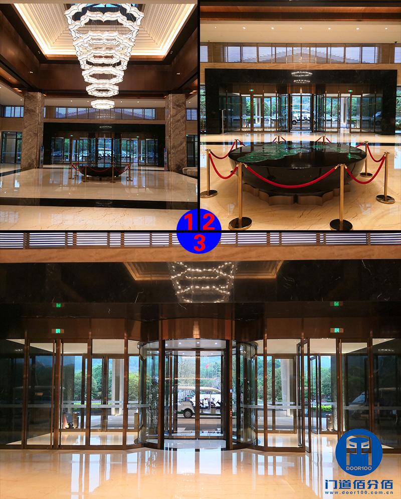 广西柳州某山庄宁波智汇门道自动两翼旋转门保养服务