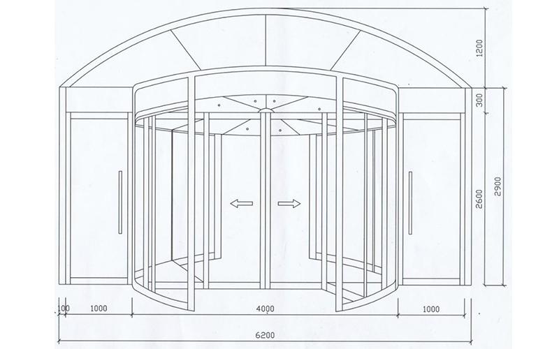 旋转门门区测量尺寸图