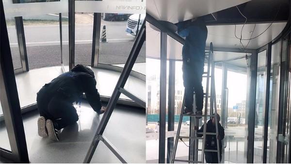 三翼旋转门保养之北京某大厦泰戈尔三翼旋转门安全检测服务案例