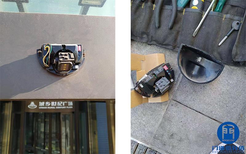 商业综合体多樘自动门启动传感器拆卸维修