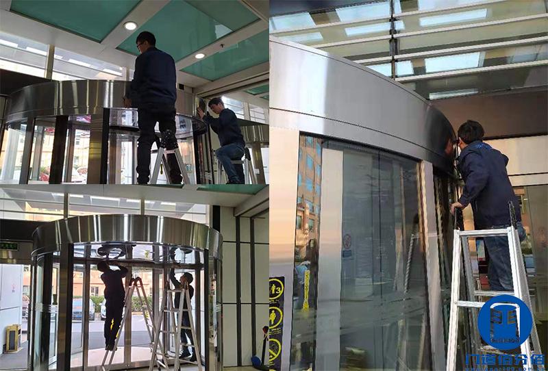 北京某大厦东南门自动旋转门轨道翻新服务